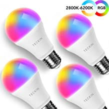 Smart WiFi Light Bulb with Soft White Light, TECKIN 16 Million RGB Color Changing LED..