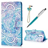 KASOS ZTE ZMax Pro/ZTE Z981 Case Wallet Colorful Painting 3D Mandala Flower PU Leather TPU Inner Shell Kickstand Card Holders Magnetic Front Closure Bumper Cover & Dust Plug & Stylus - Mandala