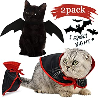 Cat Dog Costume Pet Halloween Costumes Cat Bat Wings Puppy Vampire Costume Cape Cosplay Apparel Clothes Fancy Dress for Ha...