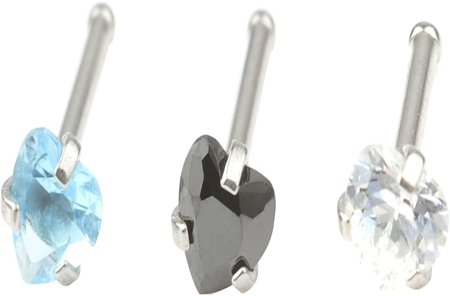 A+'s 20G 3 Pcs Mix Stainless Steel Nose Rings Studs Piercing Body Jewelry 2.5mm Heart Shape Cubic Zirconia &3