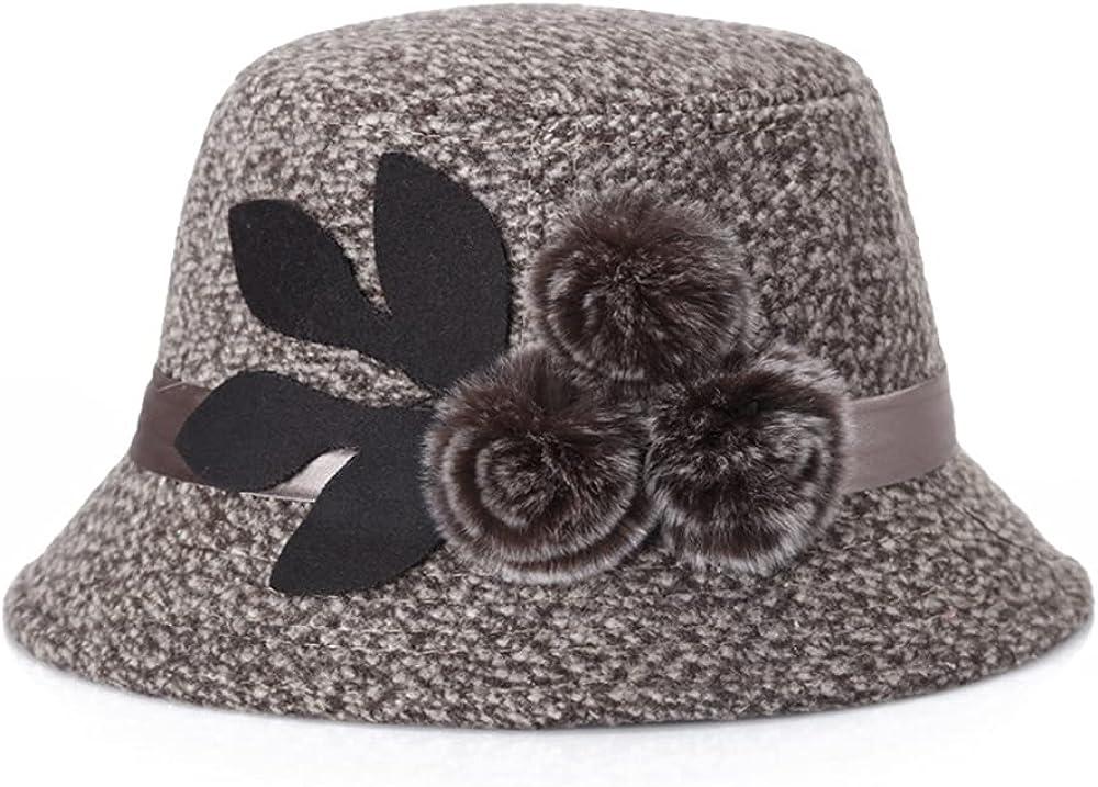Classic Felt Hat for Women Fedora Bucket Vintage Hat Plush Flower Accent