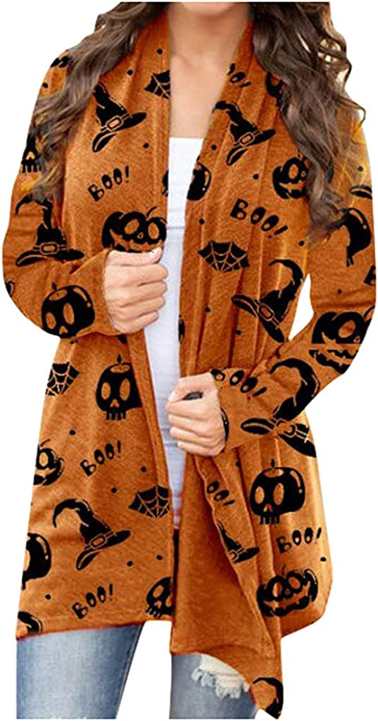 UOCUFY Halloween Cardigan for Women, Womens Open Front Coat Funny Cute Pumpkin Cat Ghost Graphic Top Long Sleeve Blouse