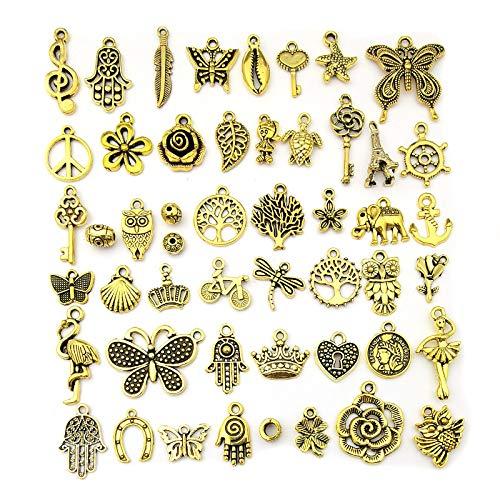 チャーム マスクチャーム ゴールド 約50枚 アクセサリーパーツ ネックレス ペンダント チョーカー ブレスレット アンクレット 素材 クラフト ハンドメイド DIY材料 (ゴールド)