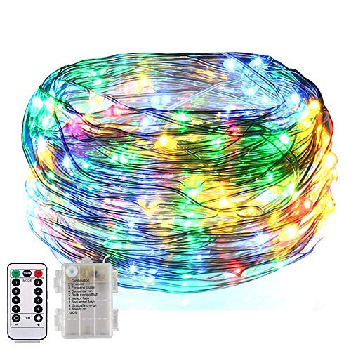 8 Flashing Modes,BOLWEO Battery Operated Fairy Christmas String Lights with Remote Timer, 5M/16.4Ft 50LEDs Dimmable Fairy Lights for Indoor Outdoor Home Christmas Tree Decoration,Rainbow