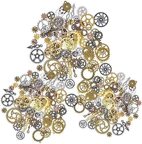 100g assorted gears (approx 80pcs) per set Antique steampunk gear charms of high quality assorted vintage alloy steampunk cogs and gears. Diameter: 7mm-30mm, Vintage wheels gears is designed with gear cog wheel and antique bronze, looks very fashion,...