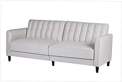 Office Home Furniture Premium Charlotte Mid Century Modern Tufted Convertible Sleeper Sofa, 81, Beige
