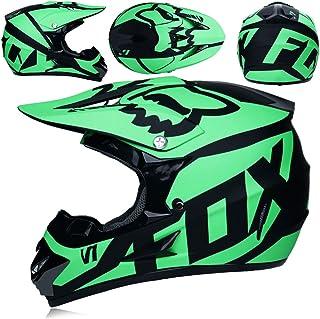 M57~58CM 4 de Sets AA-Helmet TOKU Doble Sport Motocross Casco MX Motocicleta Casco ATV Scooter ATV Casco D.O.T Certified Fox con Gafas M/áscaras Guantes Plata Negro