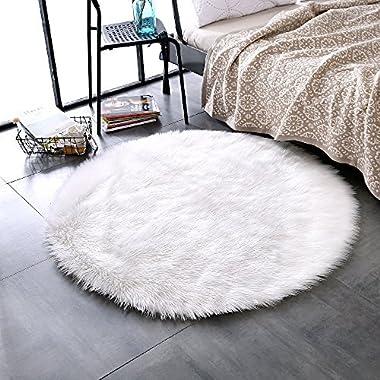 LEEVAN Plush Sheepskin Throw Rug Faux Fur Elegant Chic Style Cozy Shaggy Floor Mat Area Rugs Home Decorator Super Soft Carpets Kids Play Rug Ivory White, Round 3 ft Diameter