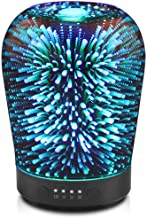 Porseme Essential Oil Diffuser, Aromatherapy Ultrasonic Cool Mist Humidifier, 3D Effect Night Light with 7 Color Changing LEDs, Waterless Auto-Off, Timer Setting