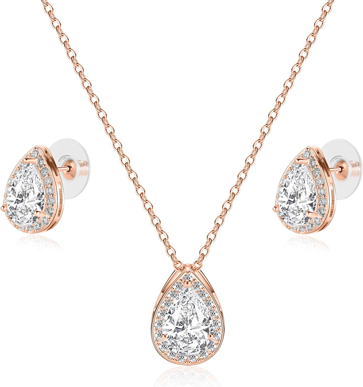 CZ Teardrop Necklace and Stud Earrings Set 14K White Gold Plated Wedding Jewelry for Bridal