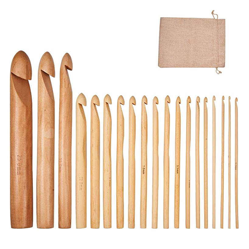 BENECREAT 19PCS 2mm~25mm Mixed Size Bamboo Crochet Hooks with Burlap Packing Pouches - Ideal for Crocheting, Lace, Doilies & Flower Projects - The Best Set for Beginner and Professional