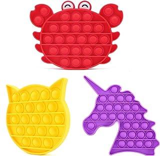 3 in 1 Animal Push Pop Bubble Fidget Sensory Toy   Figetget Toys Pack with Pop It   Simple Dimple Fidget Popper   DNA Stre...