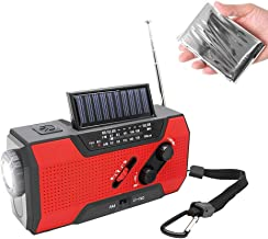 NOAA Weather Radio Hand Crank Solar AM FM 2000mAh Power Bank Emergency Weather Alert LED Flashlight Reading Lamp SOS Alarm with Emergency Blanket (RED)