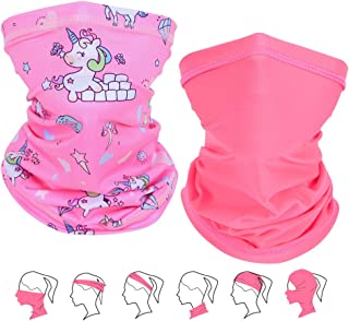 2 PCS Seamless Kids Face Mask Girls Neck Gaiter Bandana Reusable Washable Multifunction Cloth Face Covering Scarf Balaclava Headband Dust UV Protection for Children Outdoor