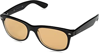RAY-BAN RB2132 New Wayfarer Sunglasses, Black & Transparent/Yellow Mirror Gold, 55 mm