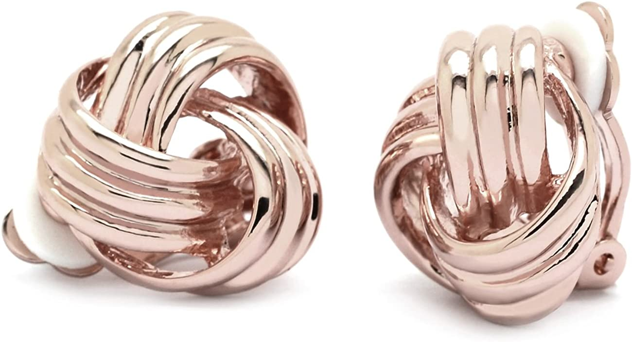 Sparkly Bride Love Knot Clip On Earrings Rose Gold Plated Women Fashion