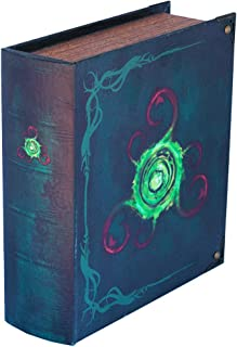 Wizardry Foundry Grimoire Deck Box, Locus | Large Wooden Spellbook Style Fabric Lined Deck or Cube Box for MTG, Yugioh, and Other TCG | 1000+ Card Capacity