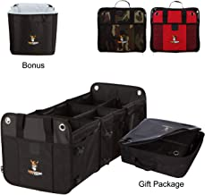 TUFF VIKING SUV Trunk Organizer for cars | Car Truck Bed Organizers and Grocery Organizer 3-in-1 Convertible for SUV, Auto, Minivan,Jeep with Insulated Cooler Bag and Tie Down Straps (Gift Set, Black)