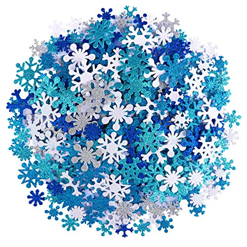 Motarto 600 Pieces Glitter Snowflake Stickers Self-Adhesive Snowflake Foam Stickers for Christmas Craft or Winter Party Decoration, Assorted Color and Sizes