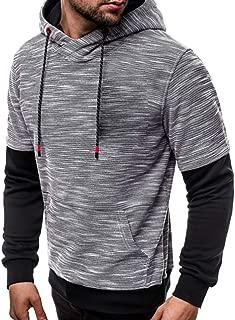 SPE969 Mens Casual Patchwork Hooed Sweatshirt,Look Like 2Pc Slim Hoodie Outwear Blouse Zipper Sweatshirt