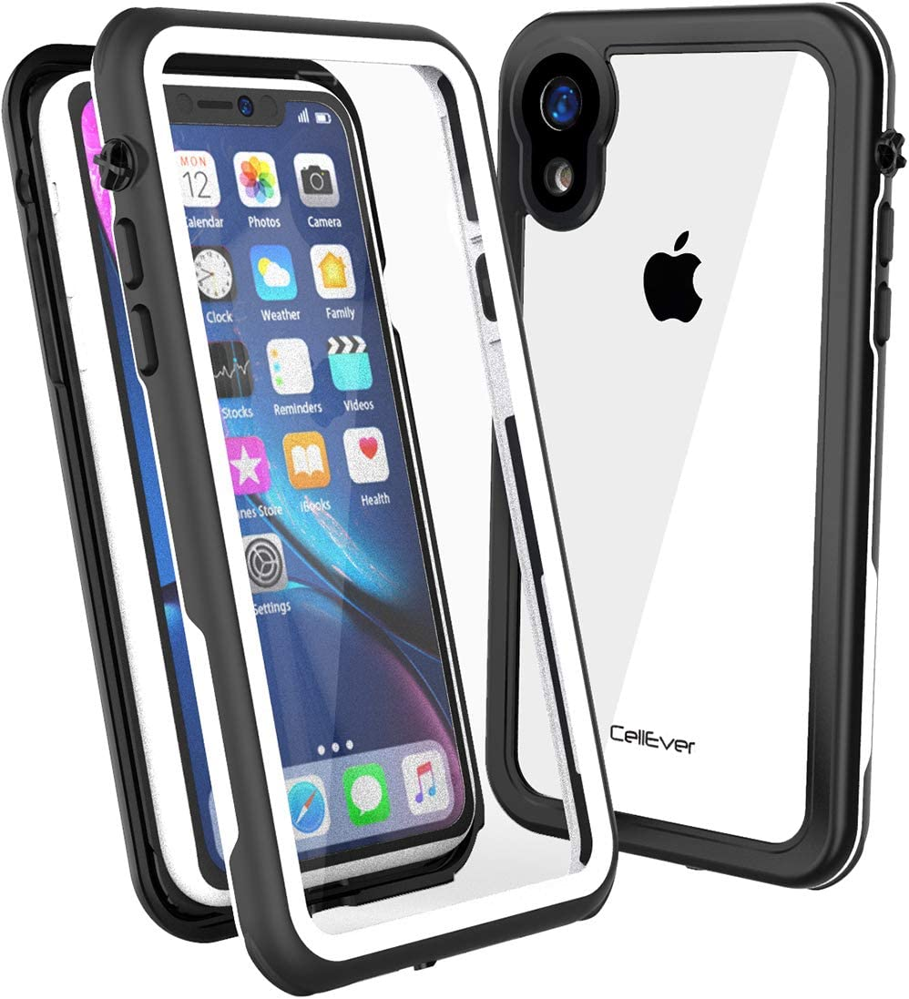 CellEver Compatible with iPhone XR Case, Clear Waterproof Shockproof IP68 Certified SandProof Snowproof Full Body Protective Clear Transparent Cover Designed for iPhone XR 6.1 inch (2018) - KZ White