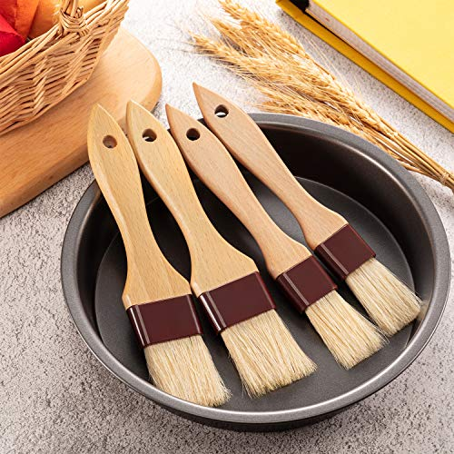 4 Pieces Pastry Brushes Basting Oil Brush with Boar Bristles and Beech Hardwood Handles Barbecue Oil Brush for Spreading Butter Cooking Baking Brush (1 Inch, 1 1/2 Inch)