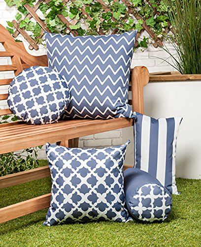 Shopisfy Colourful Garden Designs Water Resistant Modern Indoor/Outdoor Scatter Cushion (Arabesque Charcoal, 18' Cushion)
