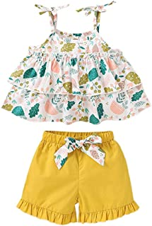 Weixinbuy Baby Girls Clothes Set Stripe Floral Flower Tops T-Shirts with Elastic Waist Yellow Shorts