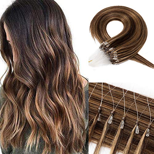 Echthaar Extensions Microring Extensions Echthaar 0,5g/Strähne 100 Strähnen/Packung Weich Haarverlängerung Glatt Haarteil 7A Human Hair 50g 40cm-4P27# Mittelbraun & Dunkelblond