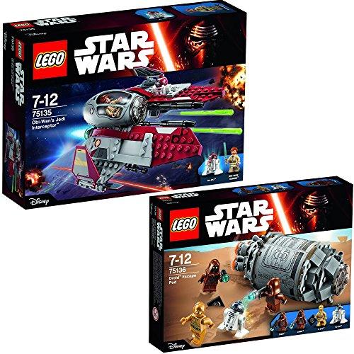 Lego Star Wars 2er Set 75135 75136 Obi-Wan's Jedi Interceptor + Droid Escape Pod