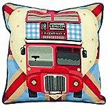 Anchor - Kit de Punto de Cruz para cojín, diseño de autobús y Bandera británicos, Color Rojo
