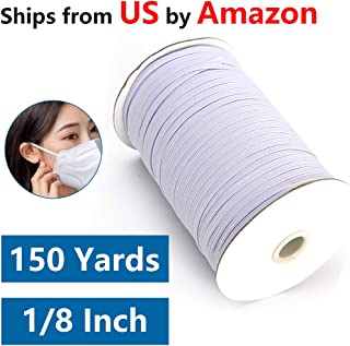 Elastic String for Masks-150 Yards Length 1/8 Elastic for Sewing/Elastic Cord/Flat Elastic/Elastic Rope/Bungee Cords/Elastic Rope/DIY Elastic Cord for Weaving, Crafts, Jewelry-White