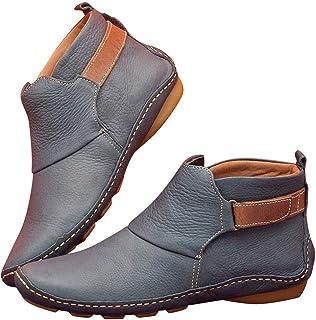 Apoorry Leren laarzen, herfst, damesschoenen, vintage, platte hak, comfortabel, korte laarzen.