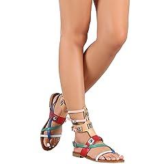 bed9f302333 CAPE ROBBIN Womens Open Toe Strappy Ankle Cuff Colorblock Har .