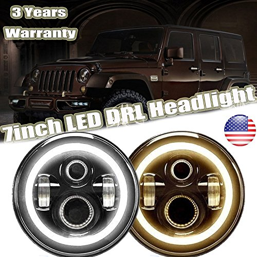 DOT 7 Inch Round LED Headlights With Turn Signal Halo For Jeep Wrangler JK YJ TJ CJ, High Beam/Low Beam/DRL in White/Turning Signal in Yellow H6017 H6024 Conversion Kit -  Autofu, 75W afus-0905