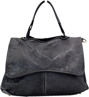 BZNA Bag Lauren dunkel grau Italy Designer Damen Handtasche Ledertasche Schultertasche Tasche Leder Shopper Neu