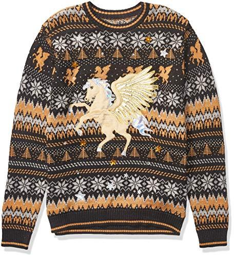 Blizzard Bay Men's Ugly Christmas Sweater Unicorn, Gold, XX-Large