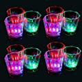 Flash Light Up Cups Set 24 Pcs, Shot Glasses, Fun Cups, LED Drinking Blinking Barware for Bar, Night Club,Birthday Party, Christmas Party, Graduation Party, Night Clubbing, Disco, etc