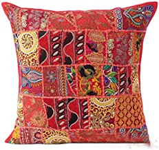 Sophia Art Indian Decorative Cushion Cover 24x24 Cotton Handmade Patchwork Embroidered Sequin Beads Ethnic Flowers Leaves Geometric Square Scatter Floor Pillow Case Fits Upto 24x24 (Red)
