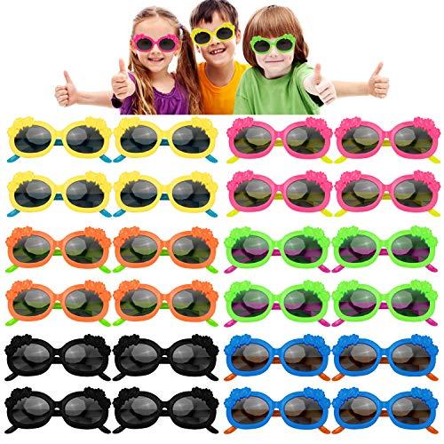 PHOGARY 24 Piezas de Gafas de Sol Neón Gafas de Fiesta de Piscina Favores de Fiesta para Niños Regalos de Fiesta (6 Colores, Flor)