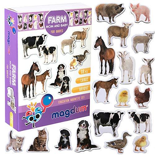 magdum Baby und Mutti Bauernhof Tiere Set – Fotorealistische Tiermagnete für Kinder - Echte Große Kühlschrank Magnete für Kleinkinder – Spiele für 3 Jährige - Spielzeug Tiere - Magnet Set