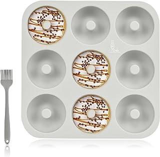 SUPER KITCHEN Grand Moule à Donuts en Silicone 9 Cavités avec Pinceau Pâtisserie, Antiadhésif Moule de Doughnut, Four de B...