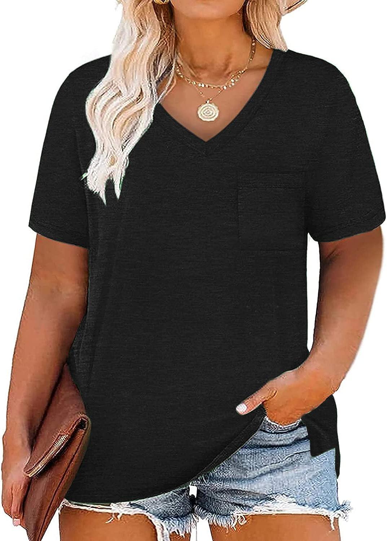 TANGWANBU Plus Size Tops for Women Summer Solid Color V Neck Shirts Side Split Tee