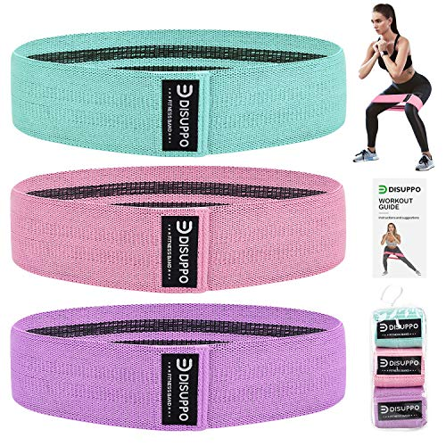 DISUPPO Resistance Bands for Legs and Butt, Workout Hip Bands High Exercise Bands Wide Booty Bands, Fabric Fitness Loop Bands for Body Stretching, Yoga, Pilates (Green, Pink, Purple)