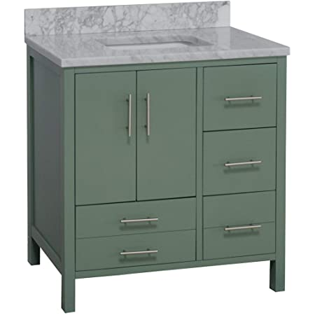 Amazon Com Aria 36 Inch Bathroom Vanity Carrara Sage Green Includes Sage Green Cabinet With Authentic Italian Carrara Marble Countertop And White Ceramic Sink Kitchen Dining