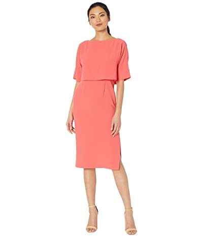 Adrianna Papell Cameron Crepe Popover Sheath Dress (Sugar Coral) Women