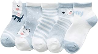 Rallytan Kids Thin Cotton Socks Animal Pattered Mesh Crew Sock 5 Pair Pack