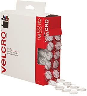 VELCRO Brand - Sticky Back Hook and Loop Fasteners | Perfect for Home or Office | 3/4in Coins | Pack of 200 | White