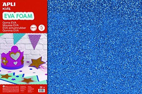 APLI Kids 13435- Goma EVA purpurina azul 600 x 400 mm 3 hojas