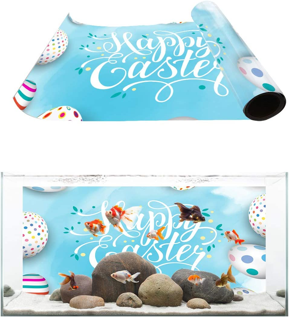 Easy-to-use Financial sales sale TH XHome Aquarium Décor Backgrounds Easter E Printed Blue Happy